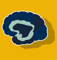 brain in sticker monochrome color on white vector image