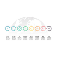 Business process timeline with 8 options circles vector