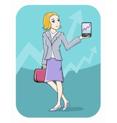 Businesswoman showing graph on smartphone screen vector