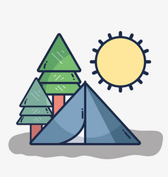 Camp with trees and sun vector