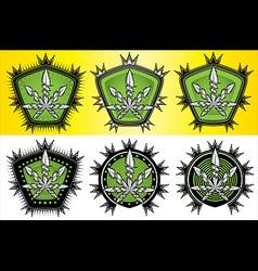 Cannabis Marijuana hemp leaf symbol stamps vector image vector image