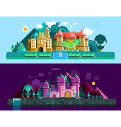 Castles Horizontal Banners vector image