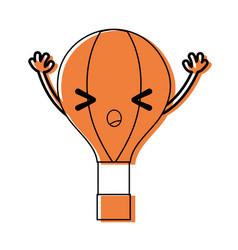 Color angry air balloon kawaii with arms vector
