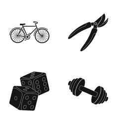 Cyclist fitness and other web icon in black style vector