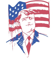 Donald Trump portrait with usa bleeding flag vector image