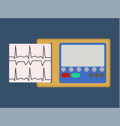 Ecg medical object flat icon vector