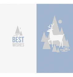 Elegant winter design with deer vector image