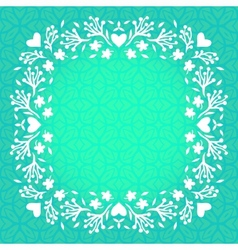 Floral frame with small flowers and hearts vector image
