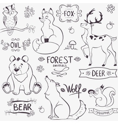 forest animals silhouette vector image vector image
