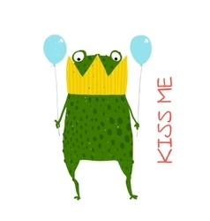 Fun Green Magic Frog Prince Got Stuck in Crown vector image vector image