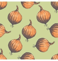 Hand drawn seamless pattern of onions vector