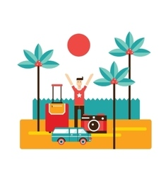 Happy excited young man on Summer vacation by the vector image vector image