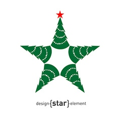 Happy new year star with green pine vector