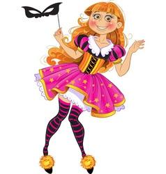 Little girl in masquerade suit vector