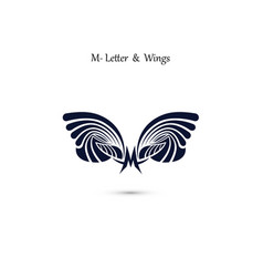 M letter sign and angel wings monogram wing logo vector