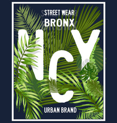 new york brooklyn typography with floral t shirt vector image vector image