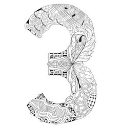 number three zentangle decorative number vector image vector image
