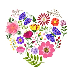 Springtime Colorful Flower and Butterfly Backgroun vector image