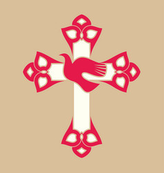 The cross of jesus and the dove vector