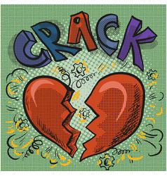 The image of the heart broken crack comic sound vector