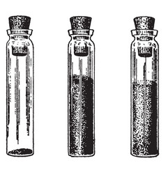 Two-thirds full vial vintage vector