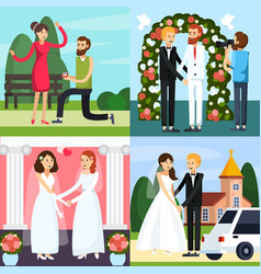 Wedding people orthogonal icon set vector