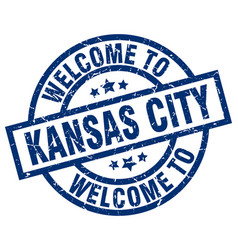 Welcome to kansas city blue stamp vector