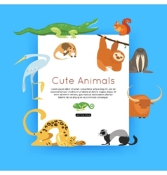 Wildlife background zoo animals banner for vector