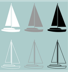 Yacht white grey black icon vector
