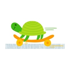 Turtle skateboarding vector