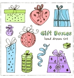 Gift boxes doodle Vintage for vector image
