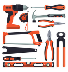 set of building tools icons in flat style vector image