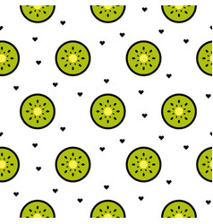 Kiwi fruit slices seamless green pattern on white vector
