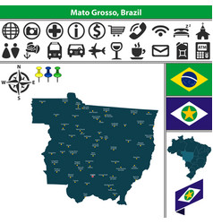 map of mato grosso brazil vector image