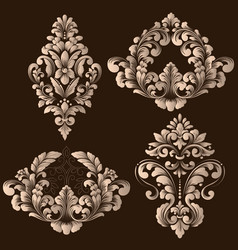 Set of damask ornamental elements vector