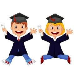 Happy graduates cartoon vector image