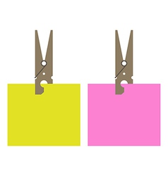 Clothes peg and stick notes vector