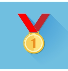Vintage of a golden medal in flat style with long vector