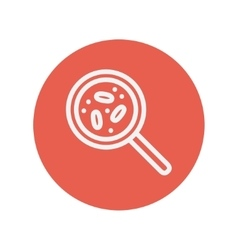 Microorganism under magnifier thin line icon vector