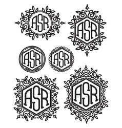 Set retro patterns monograms with floral vector