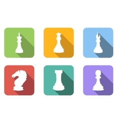 Chess flat icons set vector