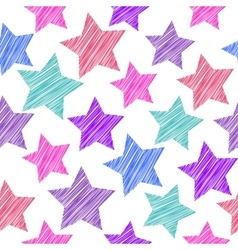 Sketch seamless pattern with stars red pink lilac vector