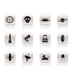 simple astronautics and space icons vector image