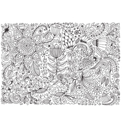 Floral doodle pattern with flowers and leaves vector image