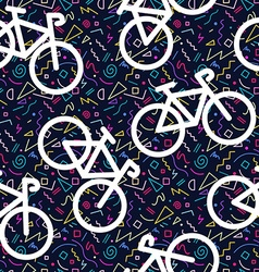 Bike retro seamless pattern outline 80s color vector