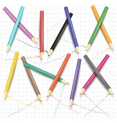 Painting pencils on the exercise book page vector