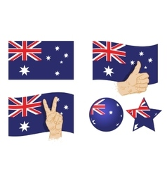 Australia flag Set of icons vector image