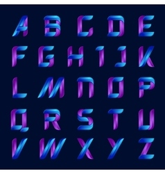 blue and purple color english alphabet letters set vector image