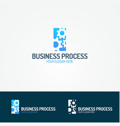 business process logo set consisting of three gear vector image vector image