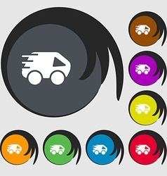 Car icon sign symbols on eight colored buttons vector